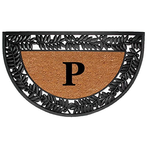 Half Round Iron - Nedia Home Monogrammed P Wrought Iron Rubber Coir Mat with Half Round Olive Border, 22