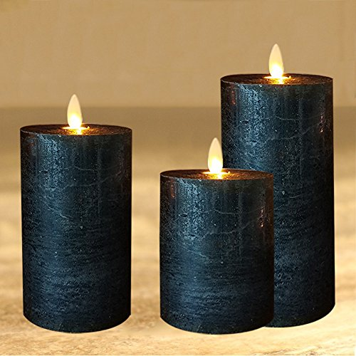 smtyle Black Candles Flameless set of 3 Battery Operated with Moving Flame Wick Flickering LED Pillar Candle,3 x 4/5/6inch