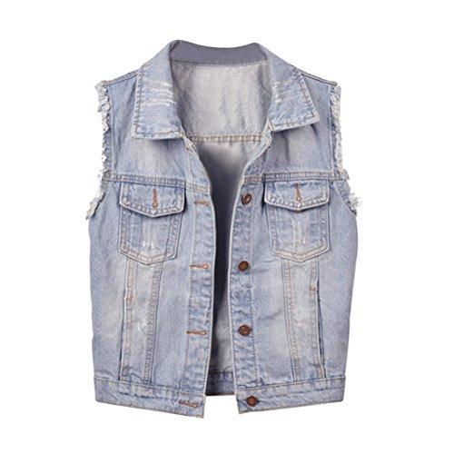 CHICFOR Big Girls' Denim Vest Casual Coat Sleeveless Jean Jacket (M)