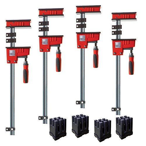 Bessey KRK2450 K Body REVO Fixed Jaw Parallel Clamp Kit Includes: 2-24-inch, 2-50-inch K Body Clamps and 1 set of KP Blocks Bar Clamp Kit