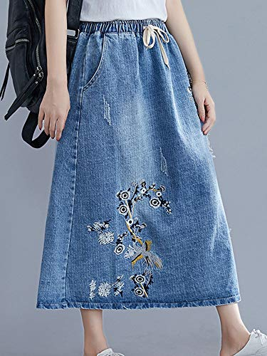 Casual Embroidery Elastic Waist Denim Skirt with Pockets