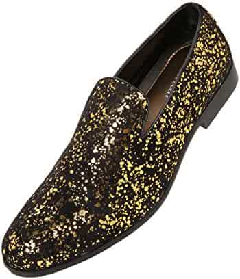 f6fca7ce3ffa Amali Mens Metallic and Studded Smoking Slipper Loafer Dress Shoes