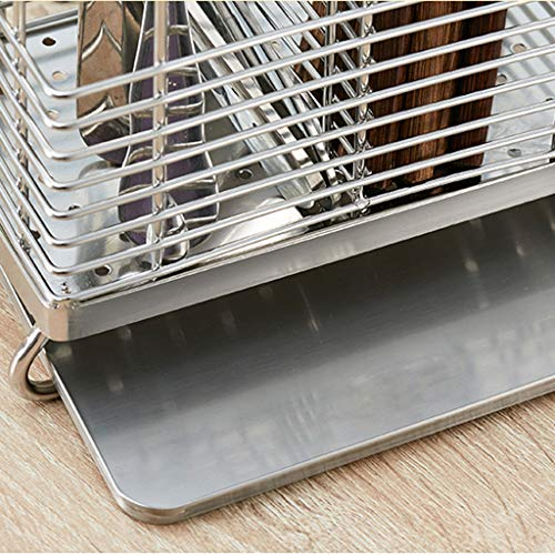 CFXZM Kitchen Shelf, Knife Fork Chopsticks Double Tube Drain Rack Cage Storage Box 304 Stainless Steel Suction Cup Wall Basket by CFXZM (Image #4)