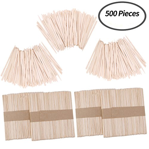 Senkary 500 Pieces Wax Applicator Sticks Wood Wax Spatulas Wood Craft Sticks for Hair Eyebrow Removal (200 Pieces Large and 300 Pieces Small)