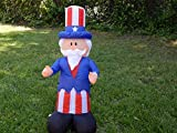 Gemmy Airblown Inflatable Patriotic Uncle Sam with Top Hat July 4th Life Sized Decoration - 4-foot Tall