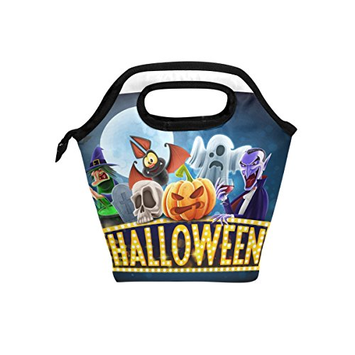 LORVIES Halloween Charaters Lunch Tote Bag Insulated Thermal Cooler Lunch Bag Waterproof Neoprene Lunch Handbags Tote with Zipper for Outdoor Travel (Halloween Charaters)