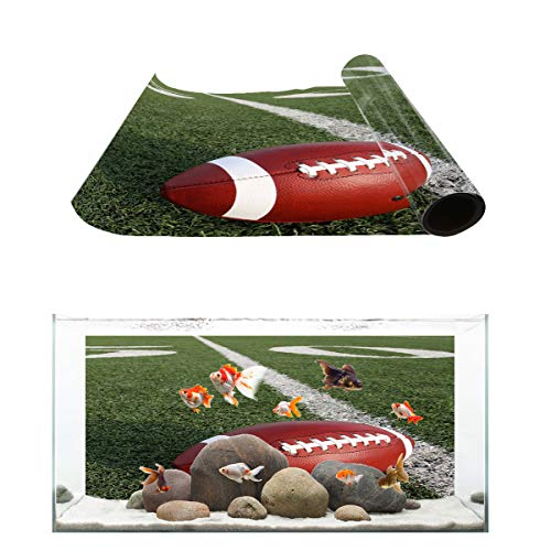 T&H Home Aquarium Décor Backgrounds - 3D Rugby Football Printing Fish Tank Background Aquarium Sticker Wallpaper Decoration Picture PVC Adhesive Poster, 48.8