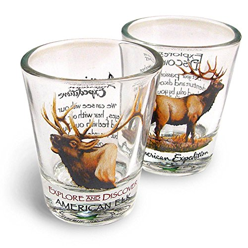 American Expedition Set of 2 Shot Glasses (American Elk)