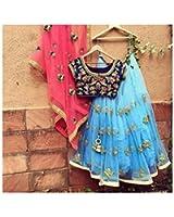 Salwar Style Women's Georgette Long Cholis Lehenga Choli (Firozi Blue_Blue_Free Size)