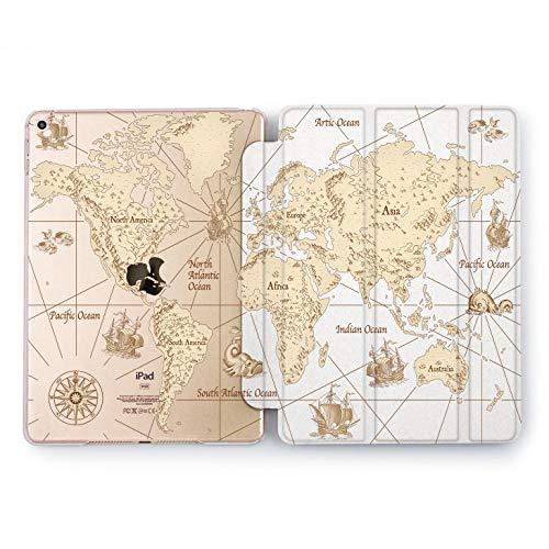 Wonder Wild Sailors Map iPad 5th 6th Generation Mini 1 2 3 4 Monochrome Sepia Air 2 Pro 10.5 12.9 2018 2017 9.7 inch Smart Cover World Design Case Apple Print Clear Voyager Traveler Ancient Ship