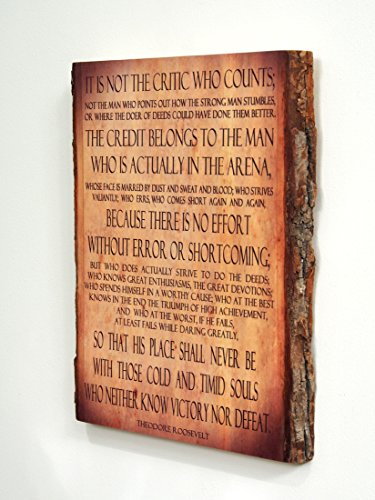Theodore Roosevelt - Man in the Arena - Quote on Wooden Plaque - Wood Sign by WoodSnacks (Image #1)