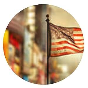 alfombrilla de ratón Andrajosa bandera estadounidense ondeando en el viento - ronda - 20cm