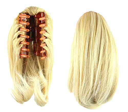 S-ssoy 10 Womens Short Straight Claw Clip On In Ponytail Pony Tail Hair Extension Synthetic Wig Hair Piece Hairpiece for Girl Lady Women