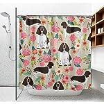 "NiYoung Shower Curtain Decorative Bath Curtain, Bathroom Water-Resistant Bathtub Curtain - English Springer Spaniel, 72"" x 70"" 8"