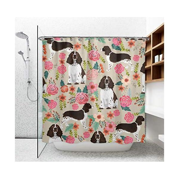 "NiYoung Shower Curtain Decorative Bath Curtain, Bathroom Water-Resistant Bathtub Curtain - English Springer Spaniel, 72"" x 70"" 3"