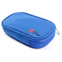 DURAGADGET Blue Memory Foam External Hard Drive Case With Dual Accessible Zip For iStorage diskGenie, iStorage diskGenie SSD, LaCie Rikki 3.0