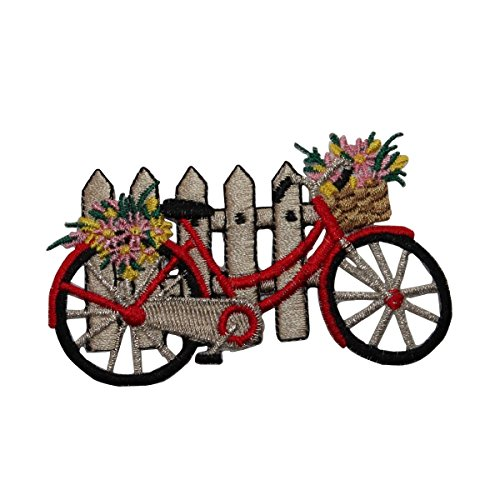 Bicycle Applique - ID #6972 Red Bicycle Picket Fence Flowers Iron On Embroidered Patch Applique