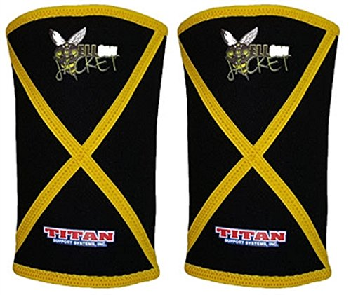 Titan Yellow Jacket Knee Sleeves - 7mm Neoprene - Powerlifting (2XL) - Improved