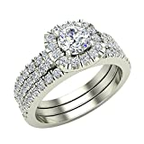 Round Cut Cushion Halo Ring Set w/ Enhancer Bands 1.33 Carat Total Weight in 14K White Gold (Ring Size 5.5)