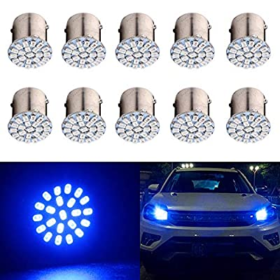 EverBrightt 10-Pack Blue 1156 BA15S 1206 22SMD Led Turn Signal Light Auto Car Reverse Light Lamp DC 12V: Automotive