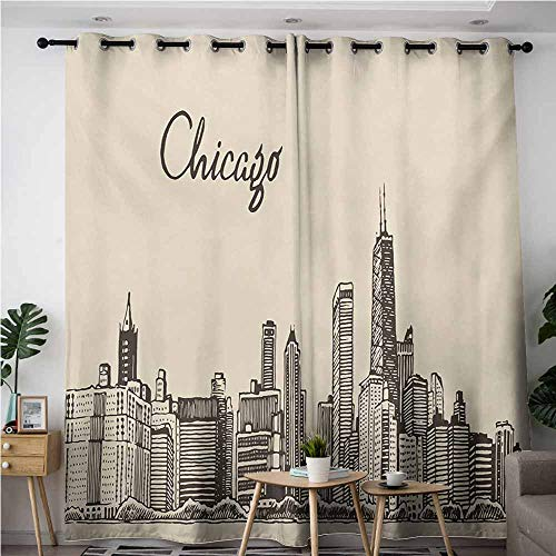 VIVIDX Curtains for Living Room,Chicago Skyline Vintage Style Urban Silhouette Country Culture Architecture Capital,Curtains for Living Room,W120x72L,Beige Dark Brown -