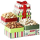 Holiday 3 Tier Savory Gourmet Nut Gift Tower Box