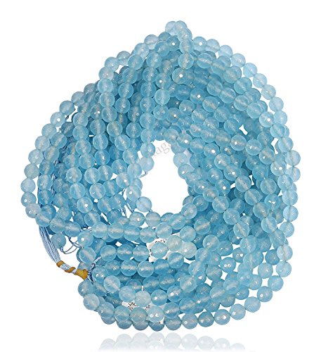Ratnagarbha Sky Blue Topaz Color Quartz Faceted Round Ball Loose Gemstone Beads Strand, Jewelry Making, Wholesale Price, Prepared Exclusively by Ratnagarbha.