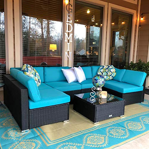 Indoor Patio Furniture - Peach Tree 7 PCs Outdoor Patio PE Rattan Wicker Sofa Sectional Furniture Set With 2 Pillows and Tea Table
