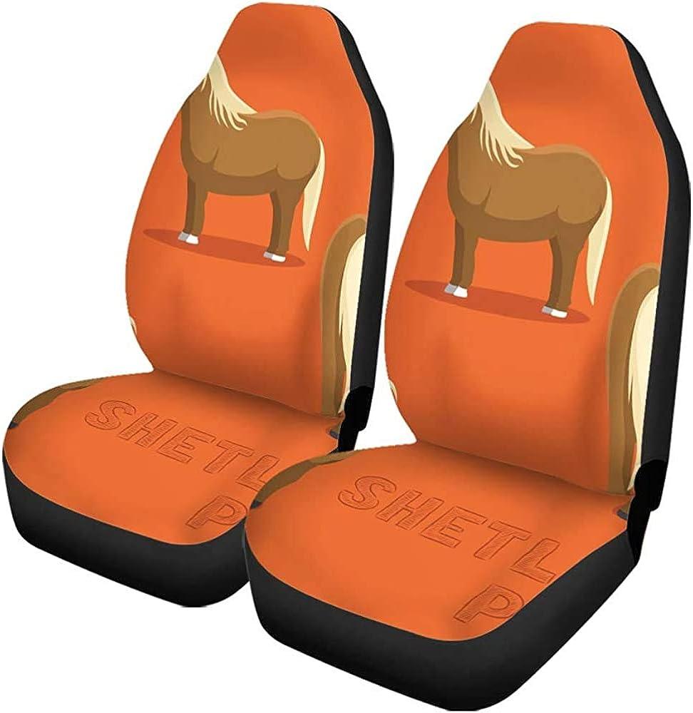 Fundas para asientos de coche Agricultura Caballo Shetland Pony Dibujos animados Razas de animales Personaje Niños Conjunto de 2 protectores