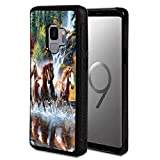 Galaxy S9 Case,Vobber Shockproof Architecture Hard Shell TPU Protective Case Cover for Samsung Galaxy S9 2018,Running Horses