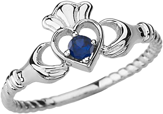 Simple Ring Rope Ring Wedding Ring White Gold Ring White Gold Women Ring Genuine Sapphire Sapphire Ring Ring For Her Dainty Ring