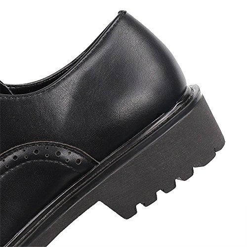 Zapatos Black de Antideslizante Tacón Retro Vino Resistente Casuales bajo PU al Desgaste Moda Negro de Cordón Hueco Planos Las Zapatos de Mujeres q1FPTn4I4w