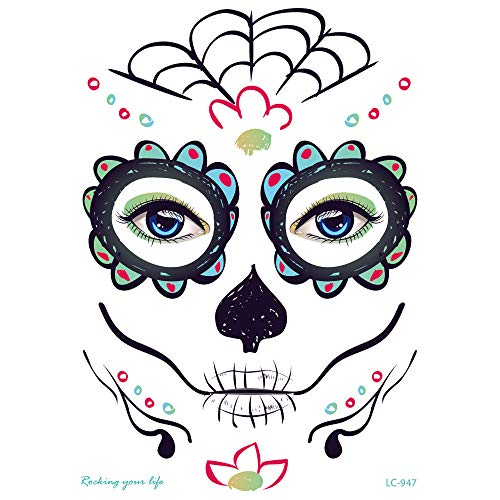 Inverlee 1 Sheet Inverlee Waterproof Facial Temporary Tattoos Day of The Dead Sugar Skull Stickers Halloween Party Terror Scar Makeup Tattoo Stickers (J) -