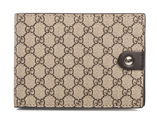 9ddc6e43d15 Gucci Signature Wallet Brown Snap bifold leather fabric Box Italy New