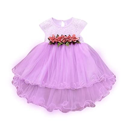 1628161e73 Balakie Wedding Tulle Dresses, Summer Floral Dress Princess Party Dress For  Toddler Baby (24M, Purple)