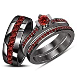 ArtLine Jewels 14K Black Gold Finish Brilliant Round Cut Garnet Engagement Ring Wedding Trio Bridal Set