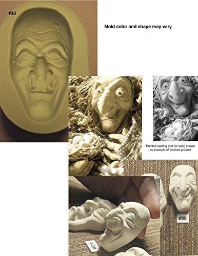 #0038 - Flexible Silicone Mold of a Witch Hag Doll Face (Halloween Stores Nearby)