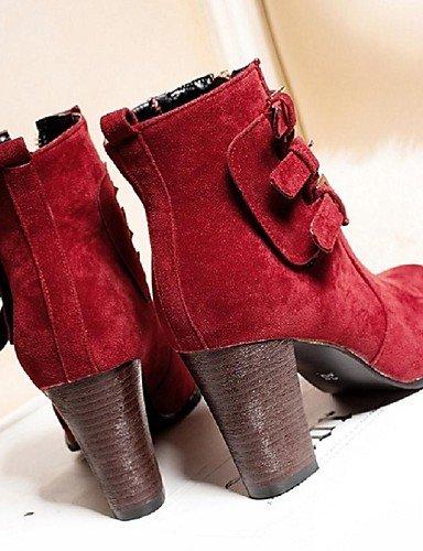 Cn34 Robusto Eu35 Beige Mujer Trabajo Red La Uk6 us5 Eu39 Xzz Uk3 Tacón Moda Negro Zapatos Botas Red Rojo Vellón De Vestido Casual Oficina Cn39 Y A us8 xqx4nIpT