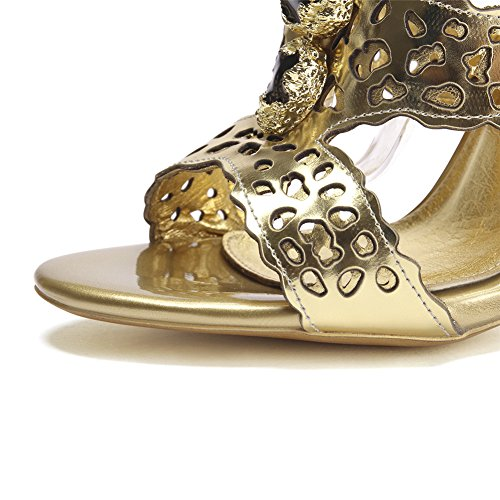 Negen Zeven Lederen Dames Naaldhak Enkelbandje Pomp Gouden