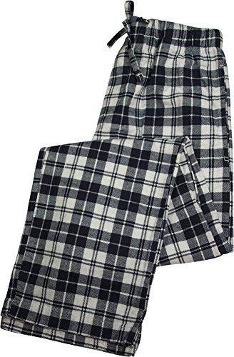 Flannel Pants Printed Lounge (B O P J - Rio Value Printed Plaid Flannel Sleep Lounge Pant, Navy, White 39127-Small)