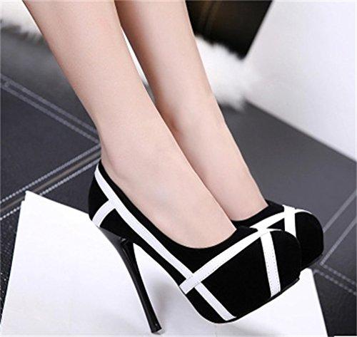 Classic Xianshu À Hauts Talons De Noir Superficielle Bouche Fight Shoes TlK1c5uJ3F