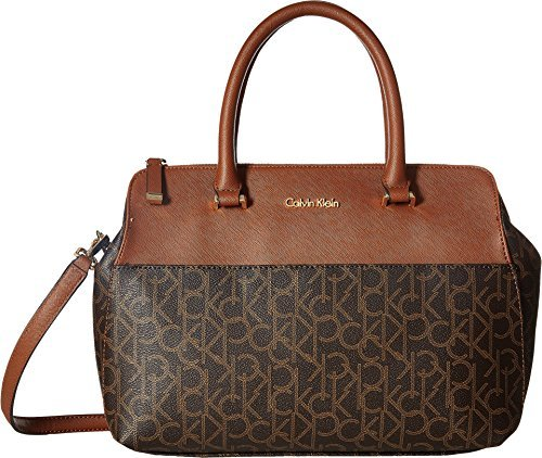 ee580456f7 Calvin Klein Women's CK Monogram Satchel Brown/Khaki/Luggage One Size