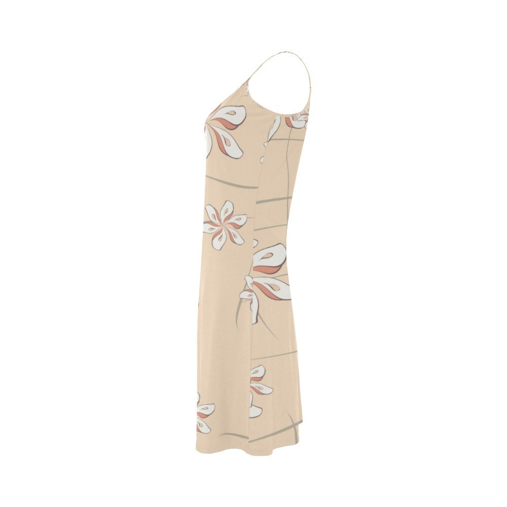 Womens Vintage Floral Print Polyester Casual Slip Dress