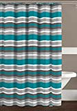 Grey and White Striped Curtains Teal Charcoal Grey White Canvas Fabric Shower Curtain: Striped Design