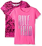 Hanes Big Girls' Sport Graphic and Printed Performance Tee (Pack of 2), Pink Extreme/Rule The Field/Speed Dash/Pink Extreme, L