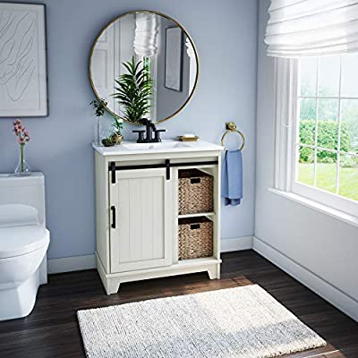 "Pamari Cassara 30"" Single Bathroom Vanity with Sliding Barn Door and White Sink - Sliding barn door with planked design for chic, modern farmhouse look 1 pc vitreous china integrated single sink top/ bowl included Open shelving for displaying towels and other items with optional modesty baskets included for storage - bathroom-vanities, bathroom-fixtures-hardware, bathroom - 514v RdZIEL. SS400  -"