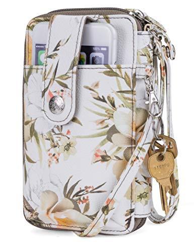 Mundi Jacqui Vegan Leather RFID Womens Crossbody Cell Phone Purse Holder Wallet (Humming Bird Floral)