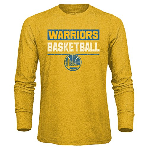 Majestic Athletic NBA Golden State Warriors Men's Premium Triblend L/S Tee, X-Large, Gold -