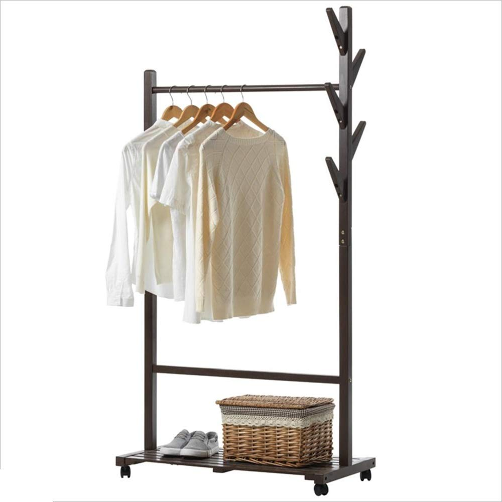 Walnut color XIA 3 in 1 Wooden Coat Stand Hanging Clothes Rail shoes Storage Shelves Garment Rack (color   Walnut color)