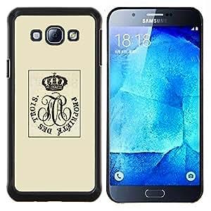 Retrato Rey Corona británica Beige retro- Metal de aluminio y de plástico duro Caja del teléfono - Negro - Samsung Galaxy A8 / SM-A800